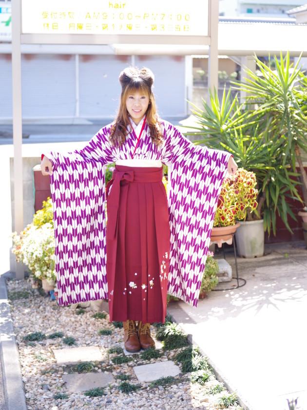 愛媛県松山市 美容室 媛さんぽ 卒業式袴レンタル 着付けヘアメイク
